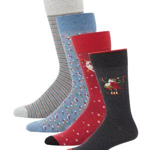 Neiman Marcus Men's 4-pack Holiday Socks